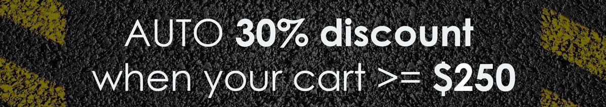 30% discount will be automatically applied when you cart be equal or greater than 150 USD