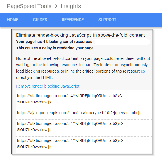 Magento.com Page Speed Insights