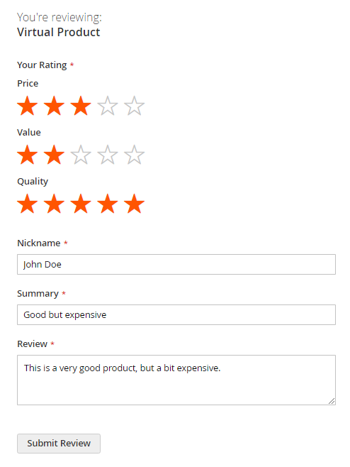 Magento 2 - submit a review on product page