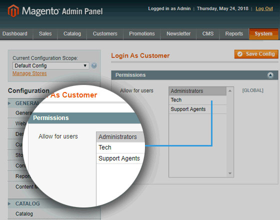 Login as Customer Magento Extension